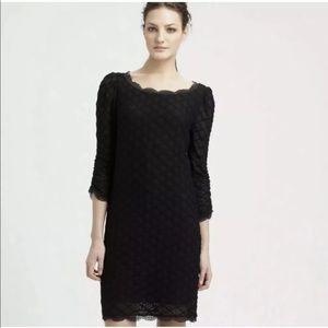 JOIE | Black Geo Lace 3/4 Sleeve Dress Black Sz S